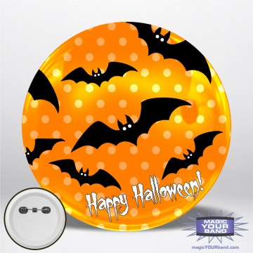 Happy Halloween Bats (Orange) Personalizable Park Button