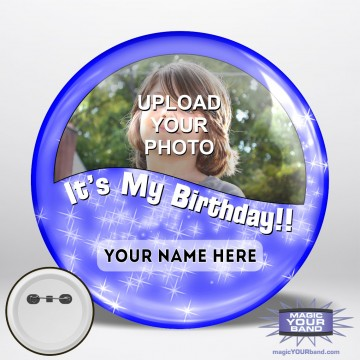 Happy Birthday Photo (Blue) Button