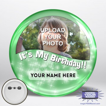 Happy Birthday Photo (Green) Button