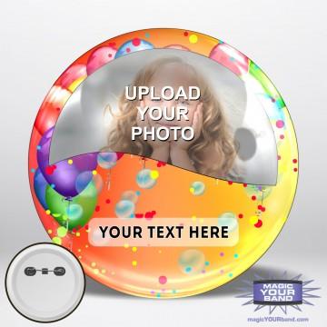 Happy Birthday Photo (Balloons) Button