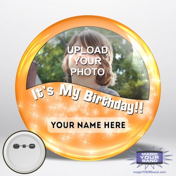 Happy Birthday Photo (Orange) Button