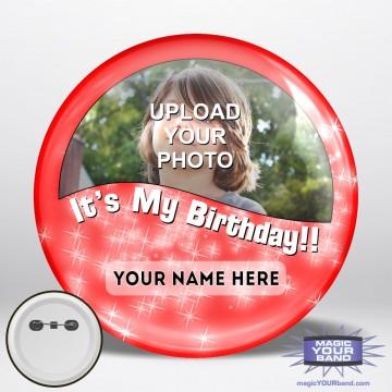 Happy Birthday Photo (Red) Button