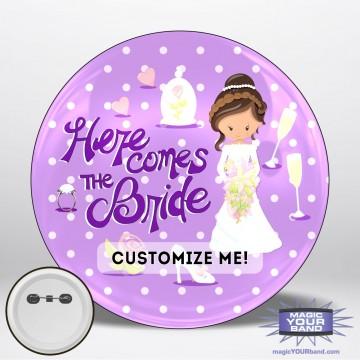 Here Comes The Bride (Purple) Button