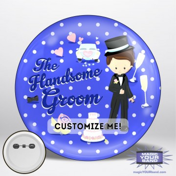 Handsome Groom (Blue) Button