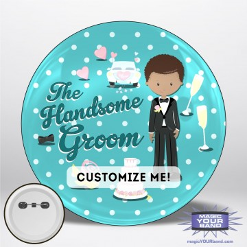 Handsome Groom (Teal) Button