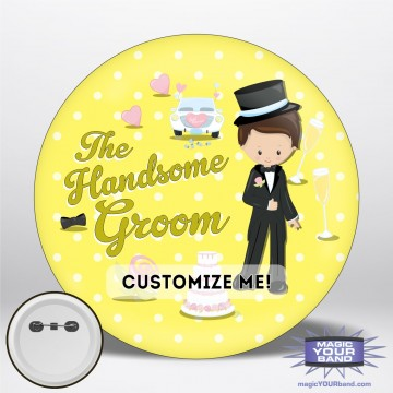 Handsome Groom (Yellow) Button