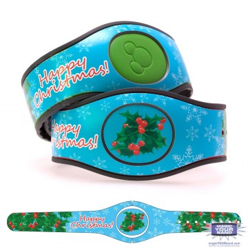 Holly Wreath & Happy Christmas MagicBand 2 Skin