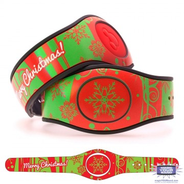 Red and Green Merry Christmas MagicBand 2 Skin