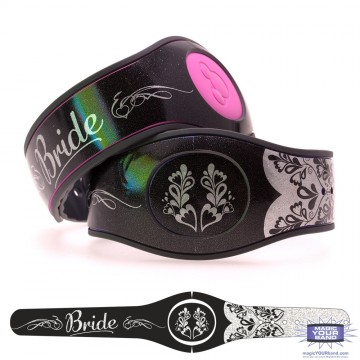 Bride on Shimmering Silver Glitter MagicBand 2 Skin