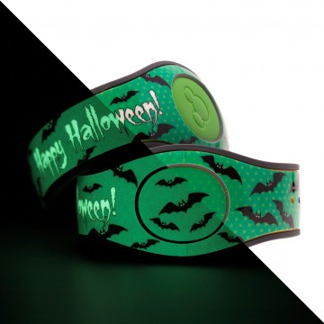 Glow in the Dark Happy Halloween (Green) MagicBand 2 skin
