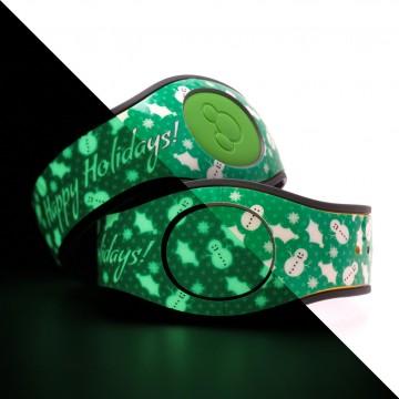 Glow in the Dark Happy Holidays (Green) MagicBand 2 Skin