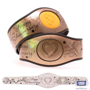 Happy Anniversary on Antique Gold Glitter MagicBand 2 Skin