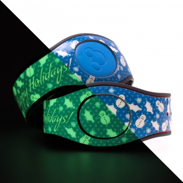 Glow in the Dark Happy Holidays (Blue) MagicBand 2 Skin