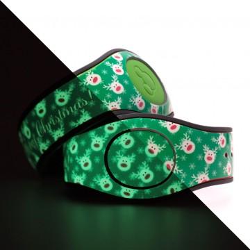 Glow in the Dark Reindeer (Green) MagicBand 2 Skin