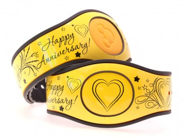 Happy Anniversary on Glossy Lemon MagicBand 2 Skin
