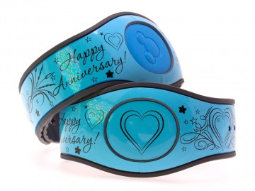 Happy Anniversary on Glossy Baby Blue MagicBand 2 Skin