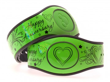Happy Anniversary on Glossy Lime Green MagicBand 2 Skin