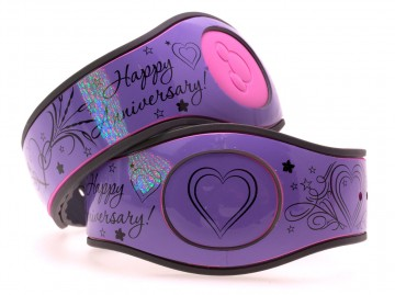 Happy Anniversary on Glossy Lavender MagicBand 2 Skin