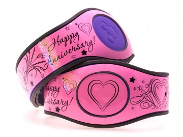 Happy Anniversary on Glossy Soft Pink MagicBand 2 Skin