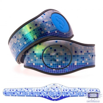 Metallic Silver Mosaic in Blue