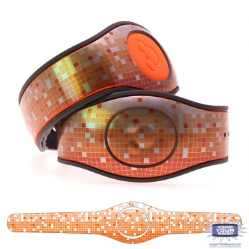 Metallic Silver Mosaic in Orange