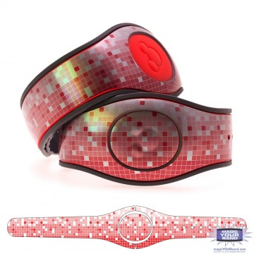 Metallic Silver Mosaic in Red