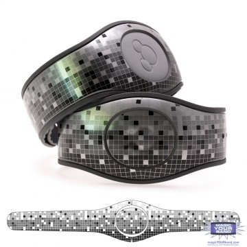 Metallic Silver Mosaic in Black