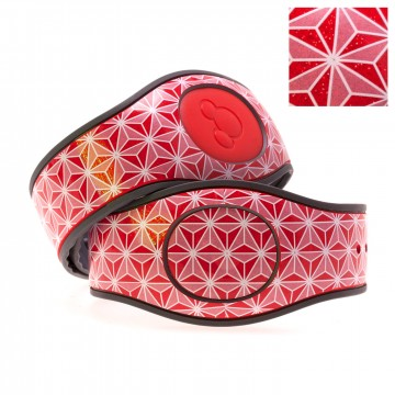 Abstract Triangles in White on Red Glitter MagicBand 2 Skin