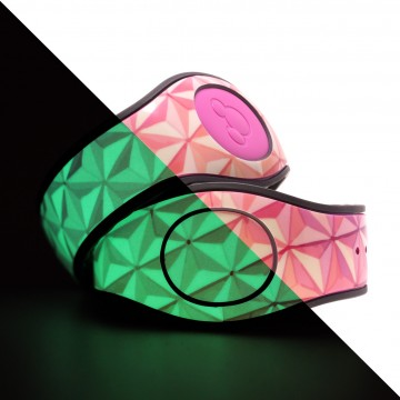 Glow In The Dark Classic Abstract Triangles in Pink MagicBand 2 Skin