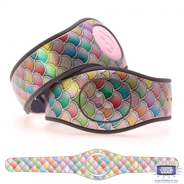 Colored Scales on Shimmering Silver Ultra Glitter MagicBand 2 Skin