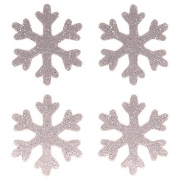 A sheet of 4 Silver Glitter Snowflakes Icon stickers