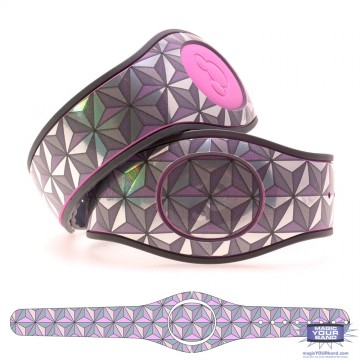 Chrome and Metallic Pink Epcot Triangles MagicBand 2 Skin