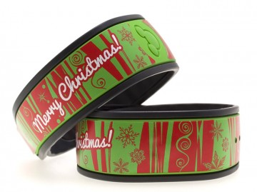 Red and Green Merry Christmas MagicBand Skin