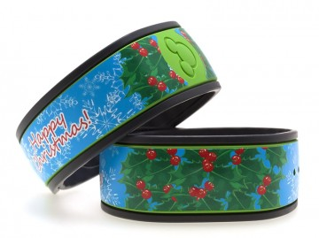 Holly Wreath & Happy Christmas MagicBand Skin