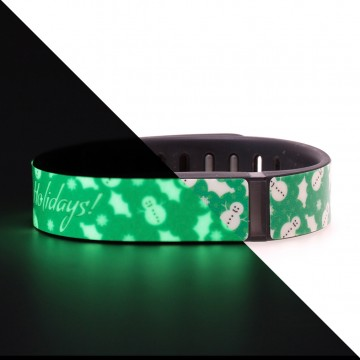 Glow in the Dark Happy Holidays (Green) Fitbit Flex Skin