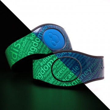 "DIS Boards ""Tag Cloud"" Glow in the Dark MagicBand 2 Skin"