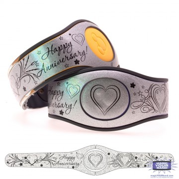 Happy Anniversary on Shimmering Silver Glitter MagicBand 2 Skin