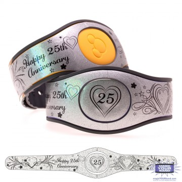 Happy 25th Anniversary on Silver Shimmer Glitter MagicBand 2 Skin