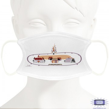 Monorail Resort Loop Design Face Mask - Personalized