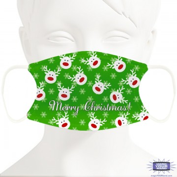 Christmas Reindeer (Green) Face Mask - Personalized