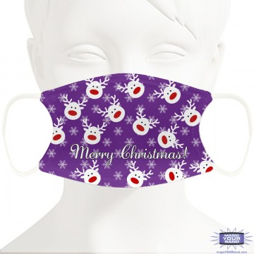 Christmas Reindeer (Purple) Face Mask - Personalized