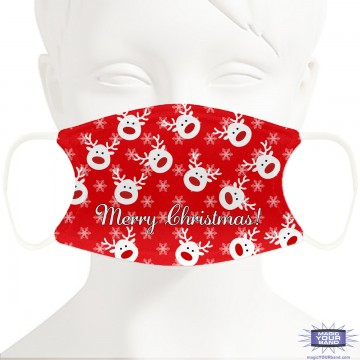 Christmas Reindeer (Red) Face Mask - Personalized
