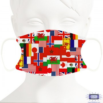 World Showcase Flag Design Face Mask - Personalized