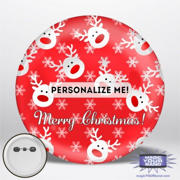 Christmas Reindeer (Red) Personalizable Park Button